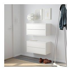 IKEA - VALJE, Wall cabinet with 2 drawers, larch white, , You can create your own unique solution by freely combining cabinets of different sizes, with or without doors and drawers.Assembly is quick and easy, thanks to the wedge dowel that clicks into the pre-drilled holes.