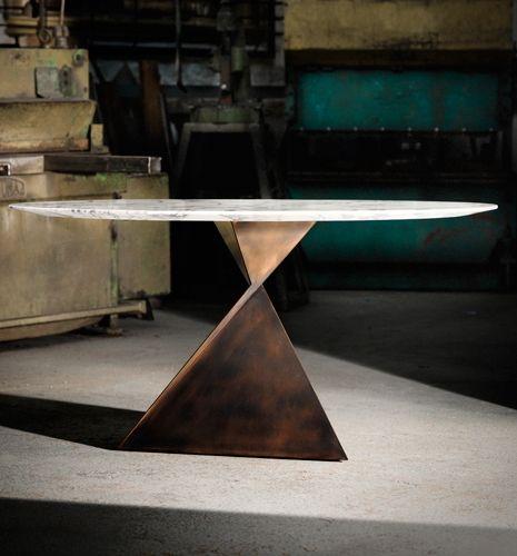 Metal Glass Contemporary Ava Round Dining Table - Tom Faulkner, bespoke handmade furniture
