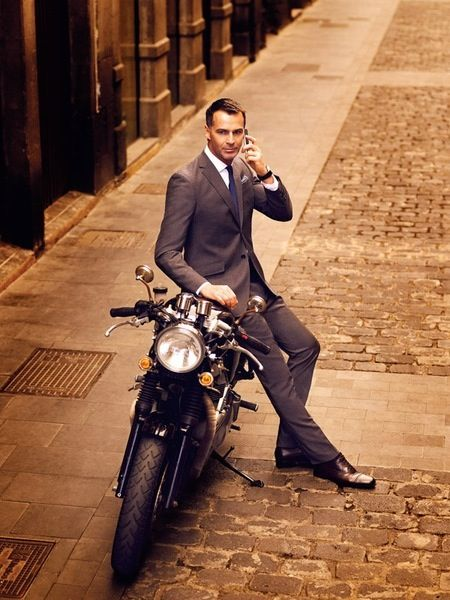 Resultado de imagen para man in suit on motorcycle