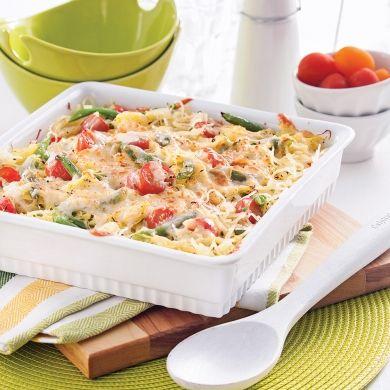 Courge spaghetti et haricots verts gratinés - Soupers de semaine - Recettes 5-15 - Recettes express 5/15 - Pratico Pratiques