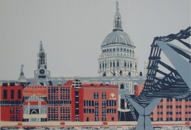 St Pauls with City of London School linocut print edition of 40 20x5cm. Jennie Ing.