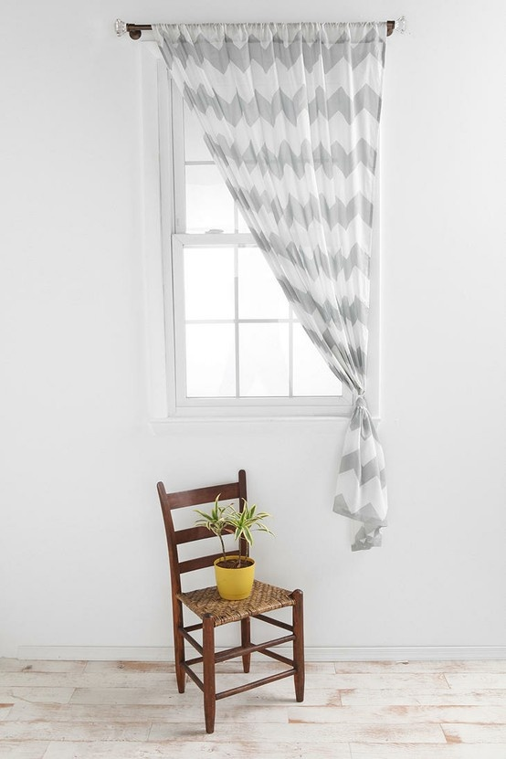White gray chevron sheer curtains dining room my house please pinterest grey chevron for Chevron curtains in living room
