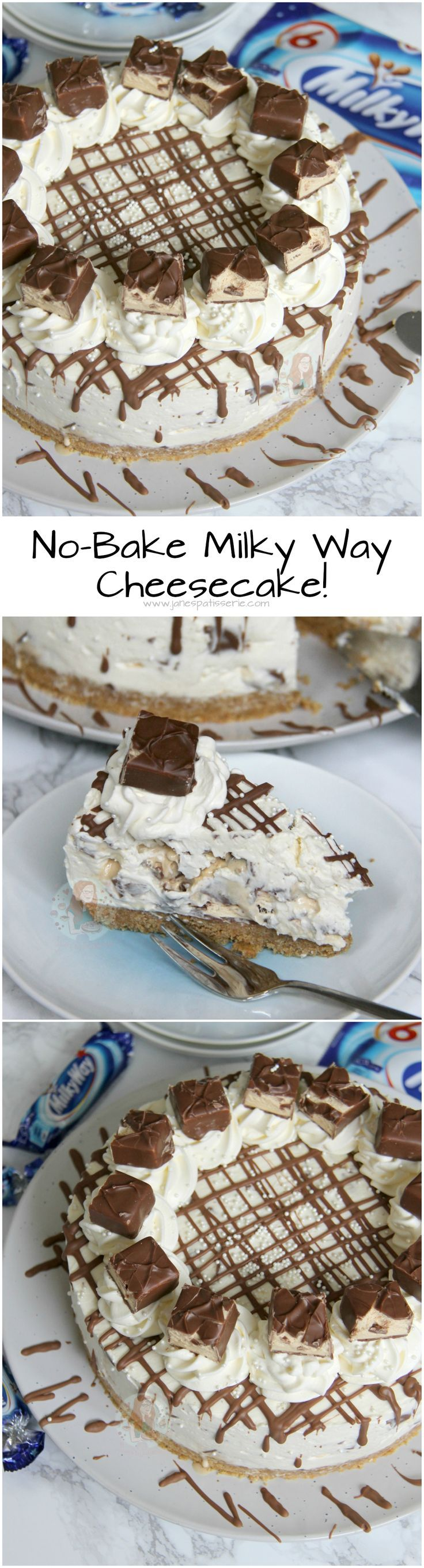 No-Bake Milky Way Cheesecake! ❤️ A Buttery Digestive Base, Vanilla Cheesecake with Milky Way Pieces Running Through, and even more Deliciousness on top!