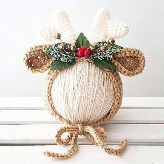 Crochet Baby Reindeer Bonnet Floral Leaves Berries Christmas