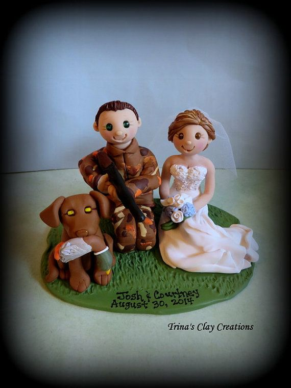 Duck Hunting Wedding Cake Topper by Trina's Clay Creations