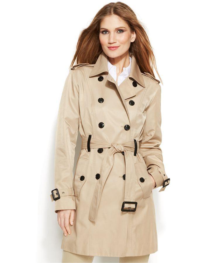 MICHAEL Michael Kors Faux-Leather-Trim Trench Coat - Coats - Women - Macy's