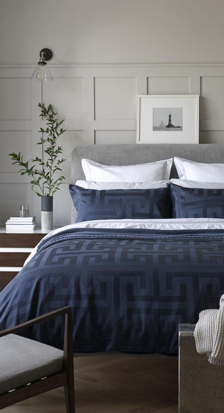 Inky blue jacquard duvet set