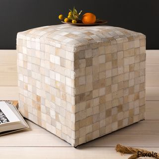 Cattle Range 18-inch Leather Cowhide Cube Pouf | Overstock™ Shopping - Great Deals on Throw Pillows