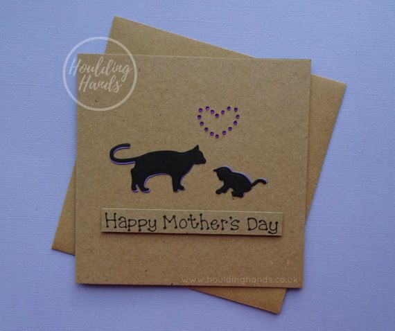Happy Mother's Day card: handmade cat and kitten card for
