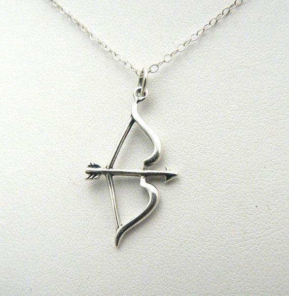 Bow Arrow Necklace Sterling Silver Charm Jewelry by asilomarworks, $33.00