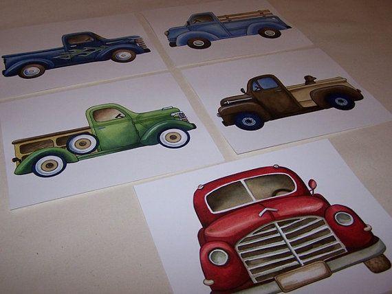 Retro Vintage pickup trucks on white background  5 ART PRINTS on Etsy, $28.00