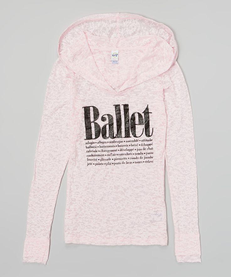Pink 'Ballet' Hooded Shirt for Girls