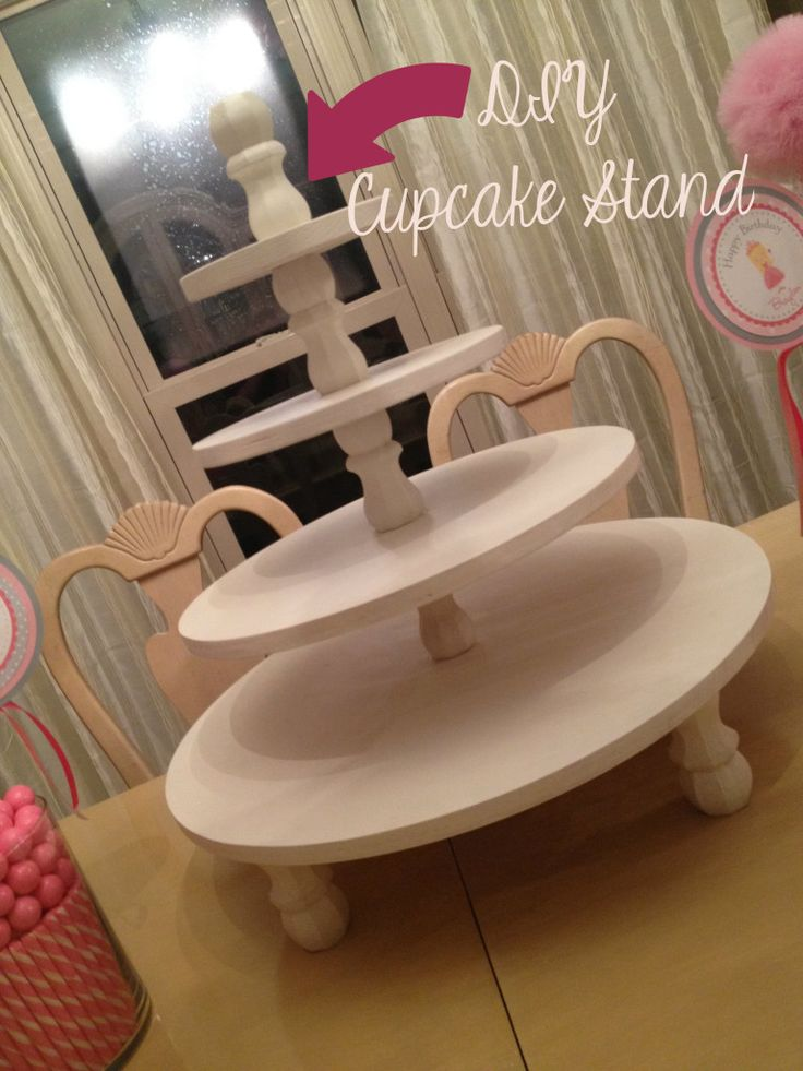Cupcake Stand made of wood and painted.  May be able to use heavy cardboard for the circles with contact paper and brocade trim for edges of the circles.  The table legs are a great idea for stability.