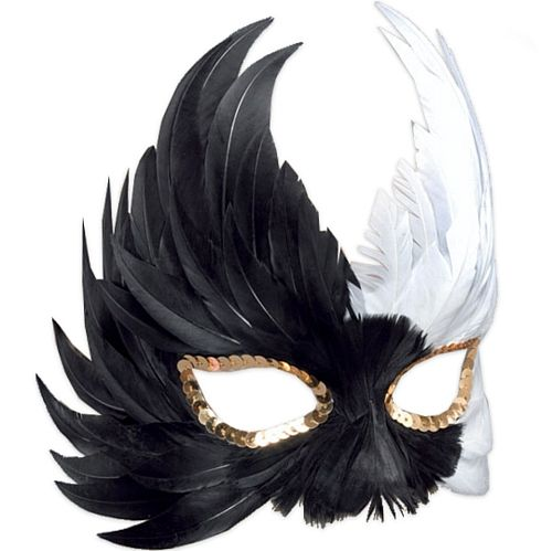 Bird Shaped Black & White Feather Eye Mask  Code: MFBKW  Bird shaped black and white feather eye mask, with gold sequin trim round the eyes. Perfect for carnivals and masquerades. £3.70
