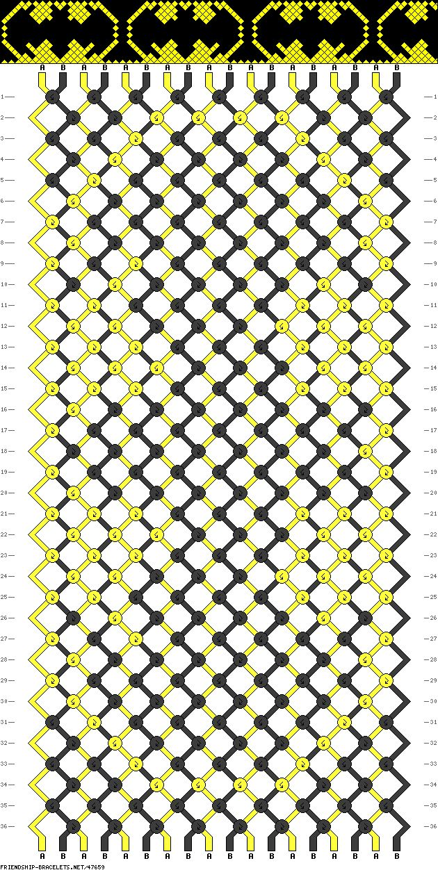 Batman friendship bracelet pattern. I like this pattern much better than the one I pinned before. ^^