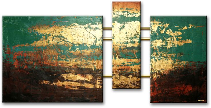 Drieluik schilderijen for Schilderij op aluminium