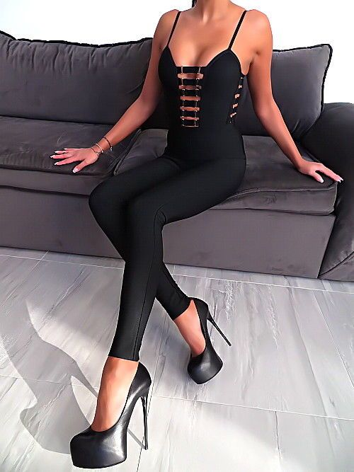 Schwarz Overall Stretch Jumpsuit Catsuit W97 Sexy Damen Best Fit Perfect Sexy L