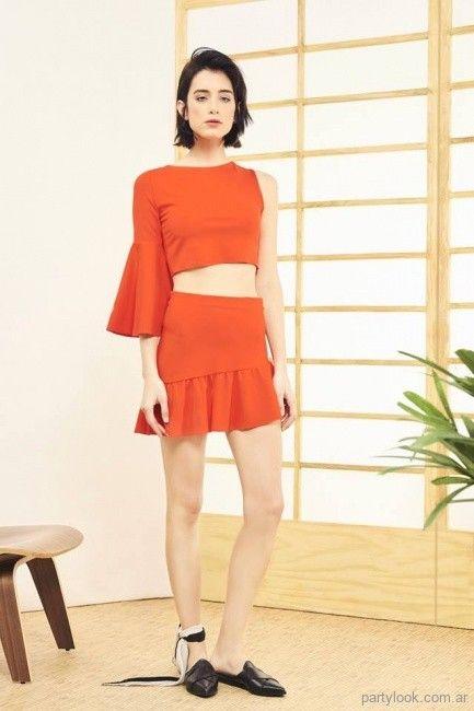 top y minifalda roja noche verano 2019 - Naima  38f73acf8b03