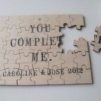 Our wooden puzzle is custom made and hand stamped with the words of your choice;