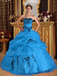 Fashionable Strapless Embroidery Sweet Sixteen Dress with Pick-ups