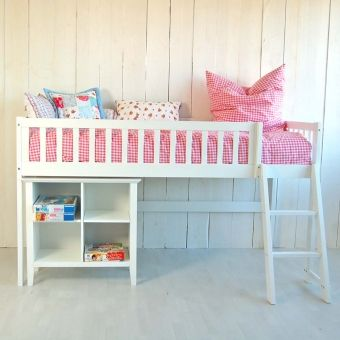 SET: Hochbett / Halbhohes Bett CHALET inkl. Kinderregal CHALET, scandinavian design, weiß