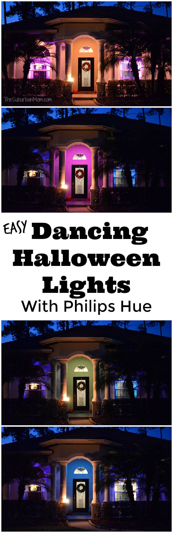 Dancing Halloween Lights - The Philips Hue Halloween app makes it easy to create a dancing light show for Halloween. Use indoors or outdoors for an awesome effect, watch the video.