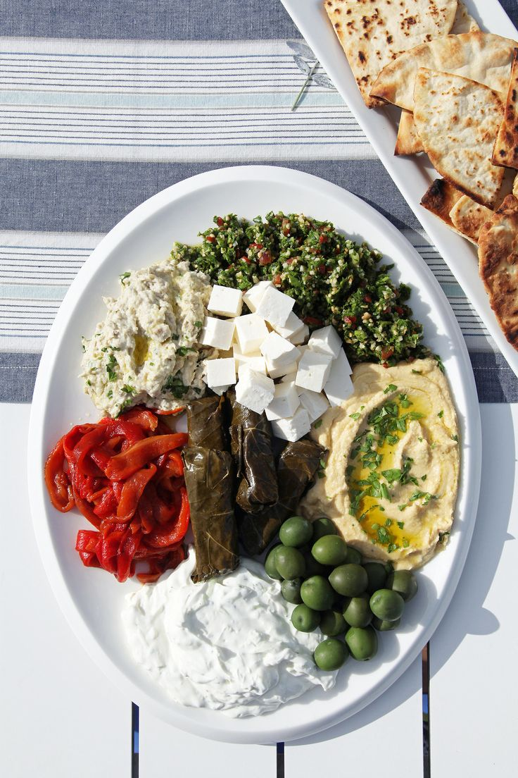 Mezze Platter Ideas - Mediterranean Platter of Grilled Pita, Hummus, Olives, Roasted Red Peppers, Feta Cheese, stuffed Grape Leaves (Dolma), Tzatziki,