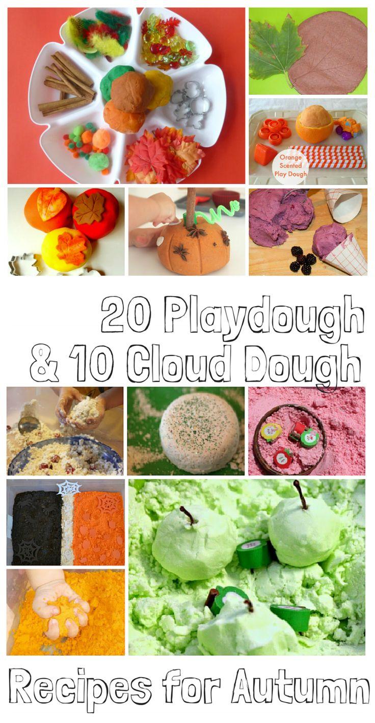 10 cloud dough recipes & 20 playdough recipes for autumn - So many ideas!