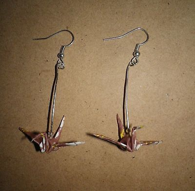 Japanese-Origami-paper-crane-bird-earrings-handmade-Brown-silver-dangle for sale