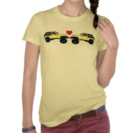 Yellow jeep wrangler love ladies tee