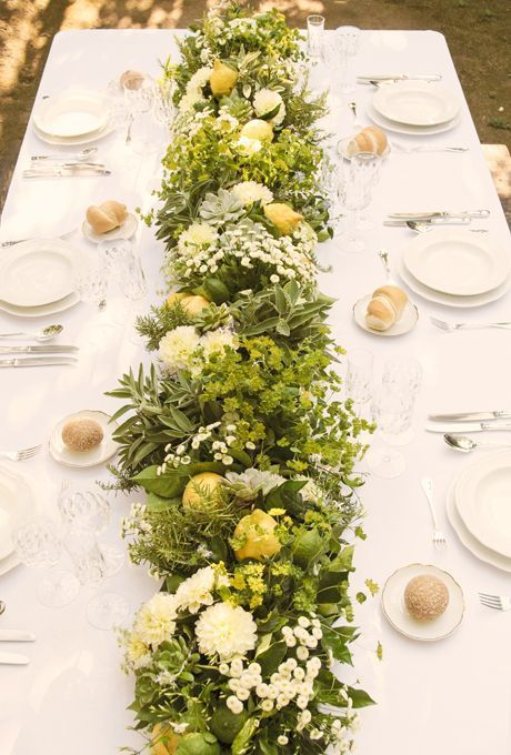 Pretty green floral centerpieces.