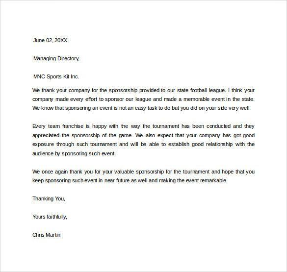 Thank You For Your Sponsorship Letter Fresh 29 Sample Sponsor