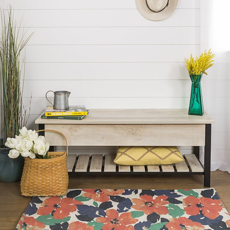 this bench is beautiful and functional providing ample storage and style for your entryway or