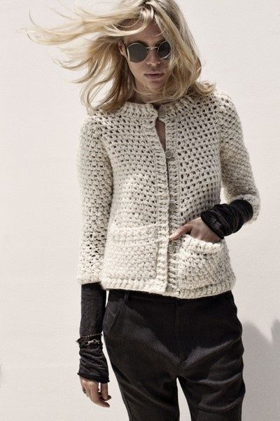 textured boucle open knit cream sweater. slouchy charcoal bieber pants. grey armwarmers?