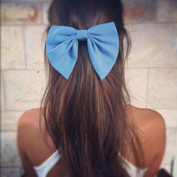 BIG Blue bow unique hair bow SN007 by colordrop on Etsy