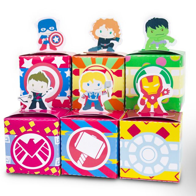 Superhero Avengers Favor Box Candy Box Birthday Iron Man Hulk Captain America Birthday Party Decorations Kids Party Supplies