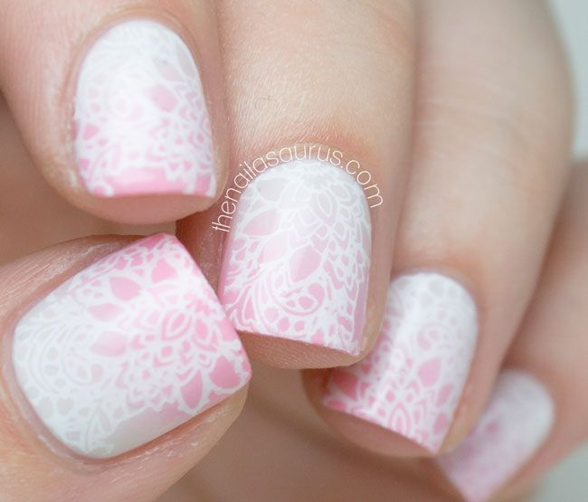 The Nailasaurus I used two coats of OPI Cream in My Coffee then used it with W7 Baby Pink to create the gradient. I stamped on the lace design from MoYou Stamping Plate Bridal Collection 06 using BK Matte White polish. It's all topped with a coat of Glisten & Glow HK Girl.