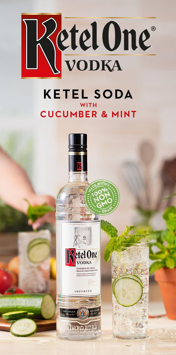 Ketel One® Vodka, made from 100% non-GMO grain. Cocktails with Ketel One® are at their best when made with only the freshest ingredients - fruits, vegetables & botanicals. Mix up a Ketel Soda with cucumber & mint this fall by pairing the silky smoothness of our vodka with the crispness of fresh mint and cucumber. Craft this cocktail by pouring 1.5 oz Ketel One® Vodka into a glass over ice. Add in thinly sliced cucumber, top with 3 oz club soda, and garnish with mint sprig.