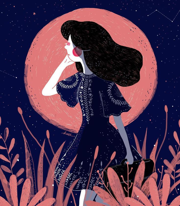 """""""The Girl & The Moon (2/3) ✨ #illustrationoftheday #doodle #starrynights"""""""