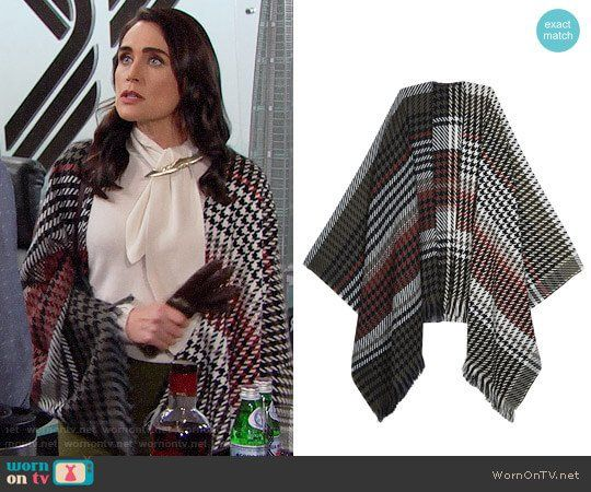 Quinn's houndstooth shawl on The Bold and the Beautiful.  Outfit Details: https://wornontv.net/92524/ #TheBoldandtheBeautiful