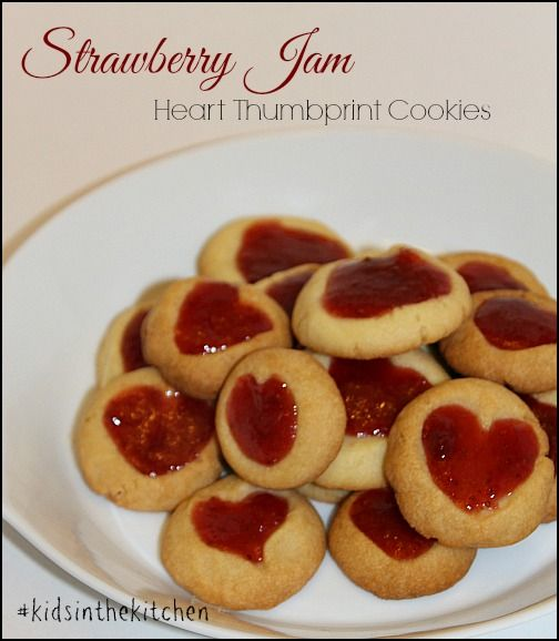 """Strawberry Jam Heart Thumbprint Cookies"" Cute baking project to do w/ kiddos"