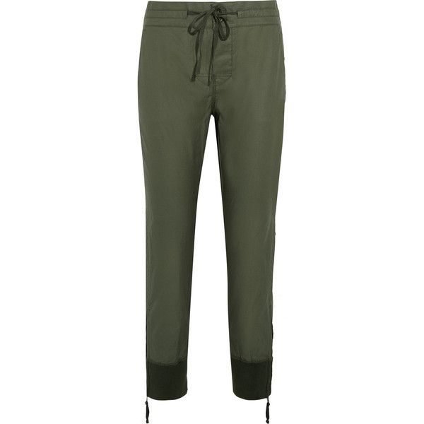 J.Crew Calvary coated cotton-twill tapered pants (1.463.395 IDR) ❤ liked on Polyvore featuring pants, j. crew pants, sports pants, cuff pants, twill trousers and military pants
