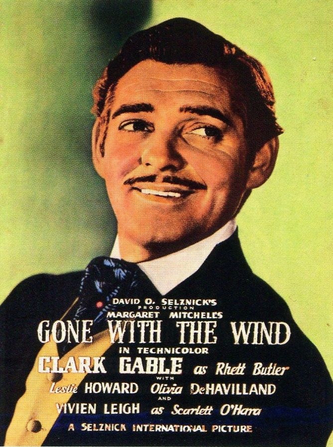 1939 hand-painted movie poster starring Clark Gable in Gone With the Wind