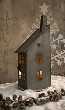 metal saltbox house w/ flicker light inside..perfect for Christmas holiday as shown or leave out all year as prim decor...