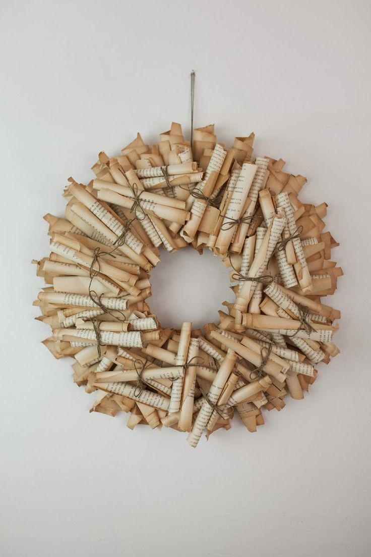 Wreath made of rolled pages from a discarded book...