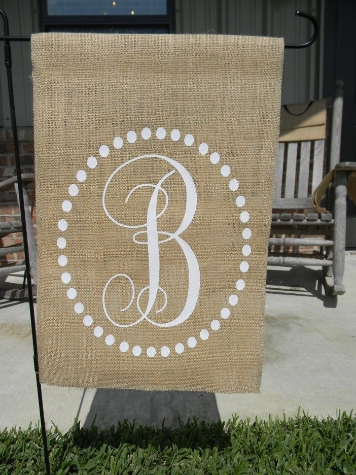 Circle Dot Initial Burlap Garden Flag