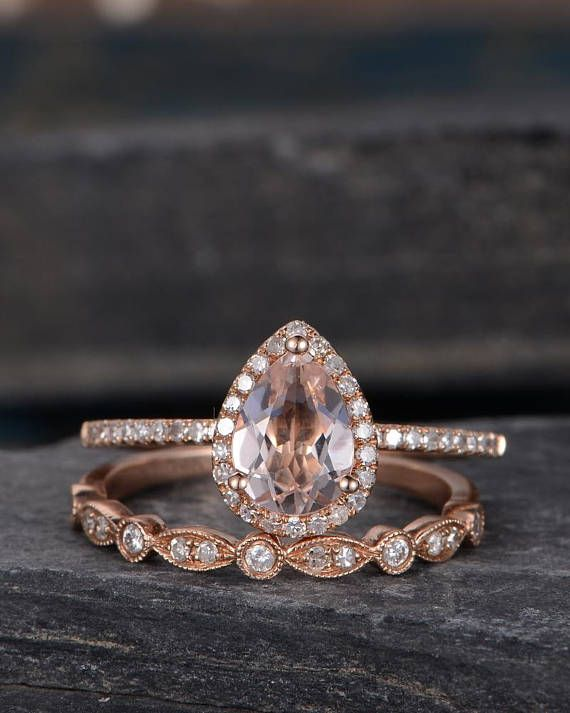Rose Gold Morganite Engagement Ring Set Bridal Set Ring Pear