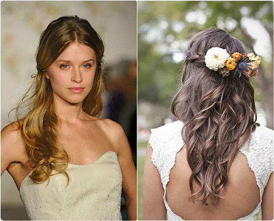 loose wavy half up and half down hairstyle with flowers and brown hair extensions