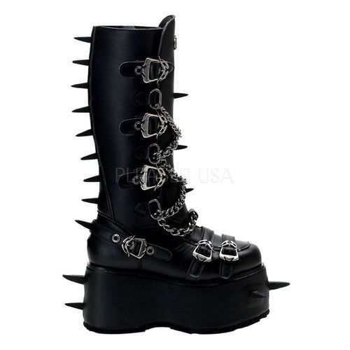 ChainedSpiked Platform Knee High Boots CyberGoth