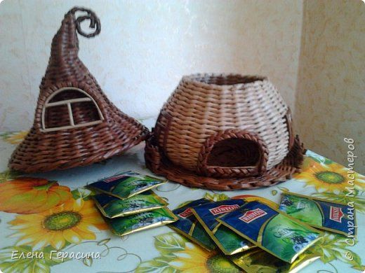 Поделка изделие Плетение Чайный домик Бумага газетная фото 4